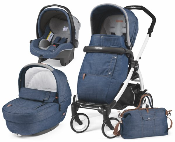 Peg Perego Количка Modular Elite Urban Denim SET Elite  + седалка Pop Up Completo + шаси Book 51